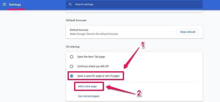 Chrome on startup option