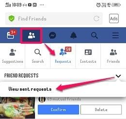 check sent Facebook requests