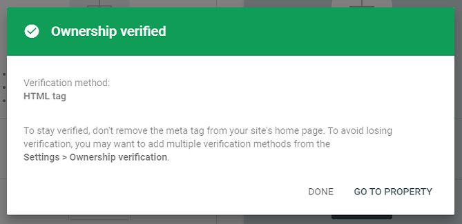 website successfully verified