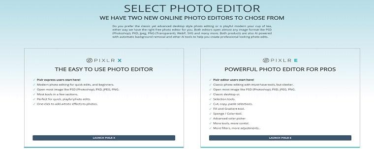 Pixlr free image editing website