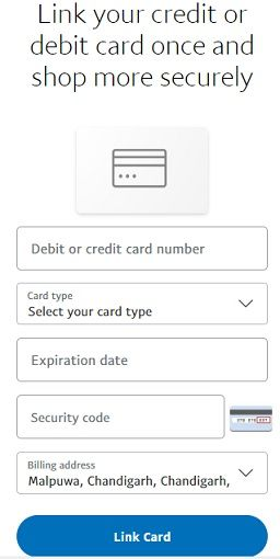 Add debit card or credit card