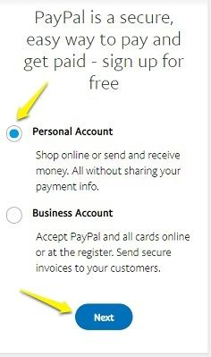 Select PayPal account type