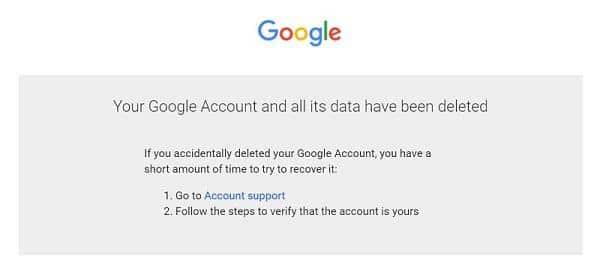 Google account has been deleted