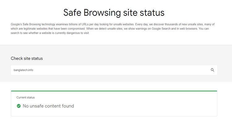 Check google domain banned status