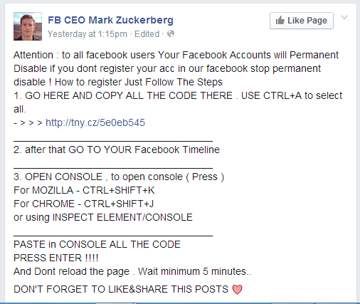 facebook false post sample