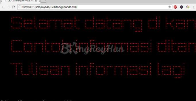 Menampilkan Text LED di Komputer PC Menggunakan HTML CSS