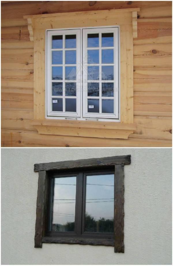 Деревянные окна и наличники в частном доме