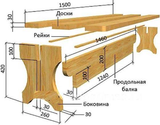 Чертежи для изготовления скамейки