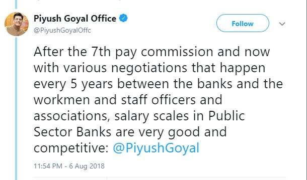 Piyush goyal on bank wage revision