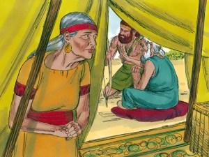 Rebekah listens as Isaac directs Esau