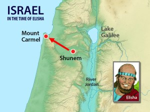 Map showing Shunem and Mt Carmel