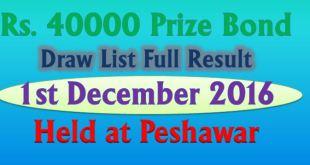Rs 40000 Prize Bond Draw Full List 1st December 2016