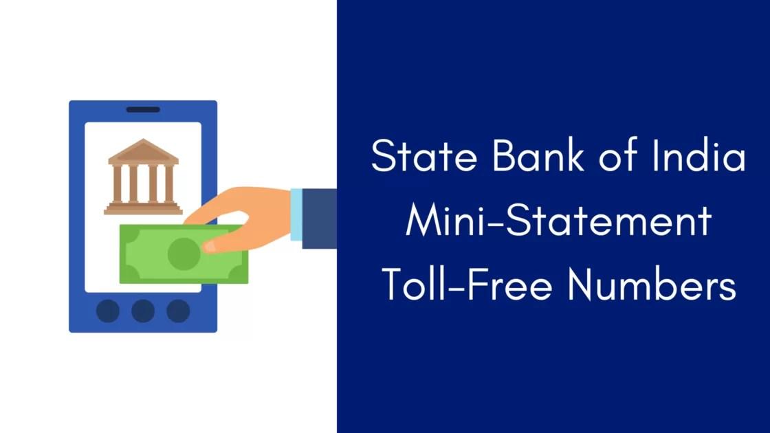 SBI Mini statement toll-free number