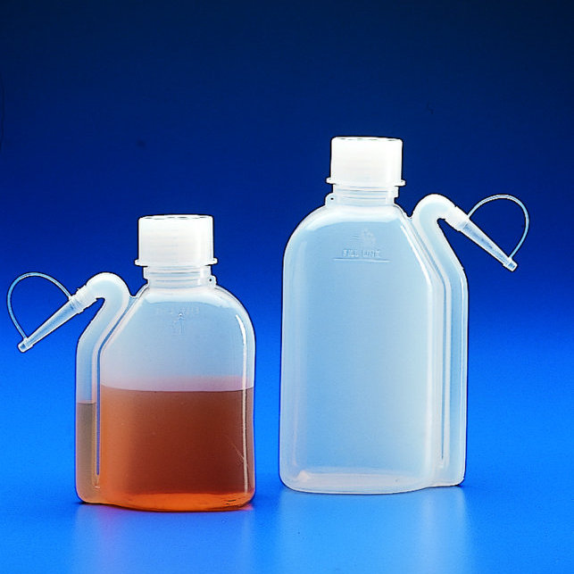 WASH BOTTLES PE Oval Shape with Integral Side Spout   | 250 ml