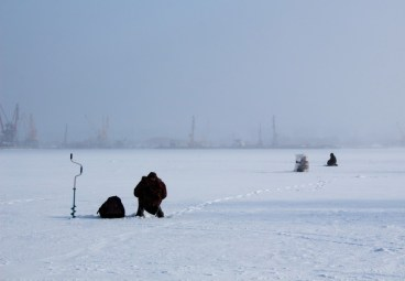 Use a drill and a depth finder when ice fishing to find where fish are congregating.