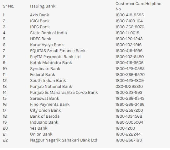 FasTag Toll Free customer care Number- Portal Bank List