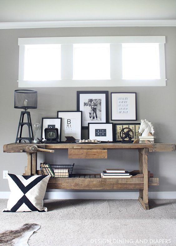 etabli atelier ancien bois lampe style