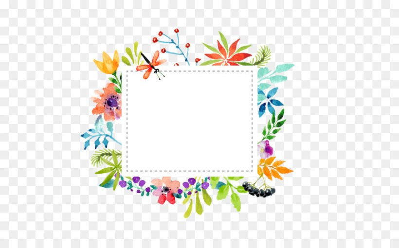 Watercolour Flowers Wedding Invitation Flower Picture Frame Art Paper Png