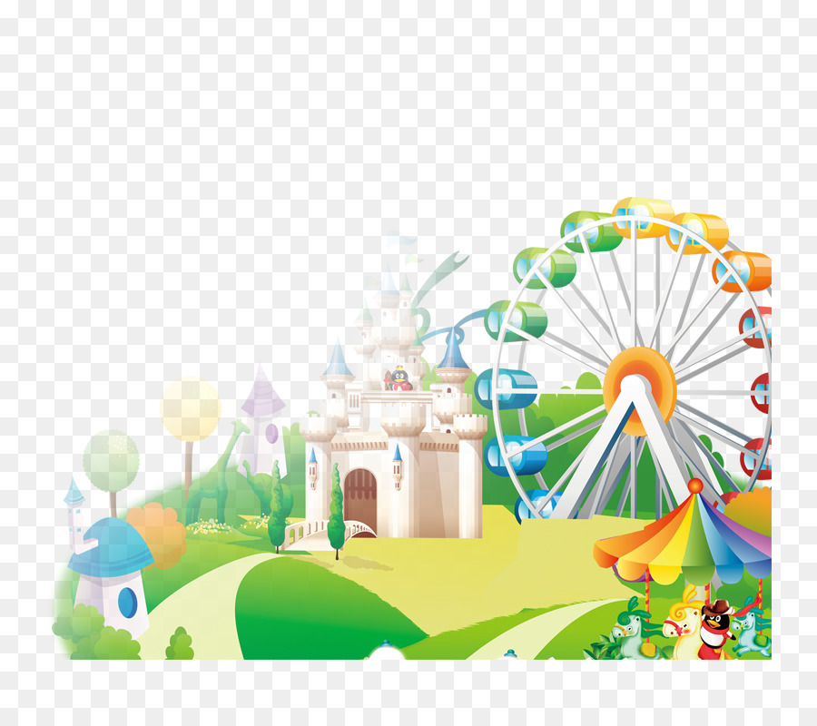 Playground Amusement Park Cartoon Advertising Cartoon Theme Park Png Download 800800 Free