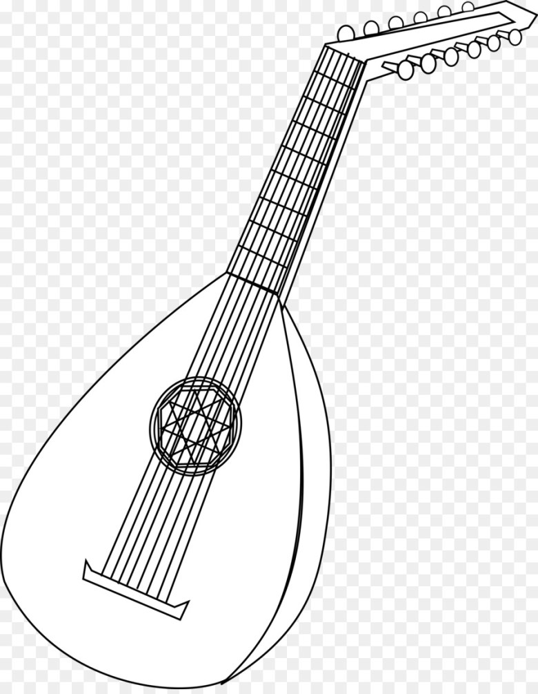 coloring book lute musical instruments string instruments - flute