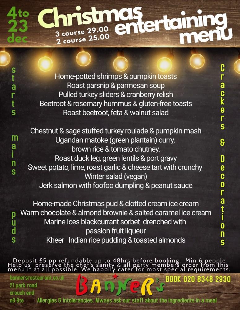 Christmass 2018 Banners restaurant menu