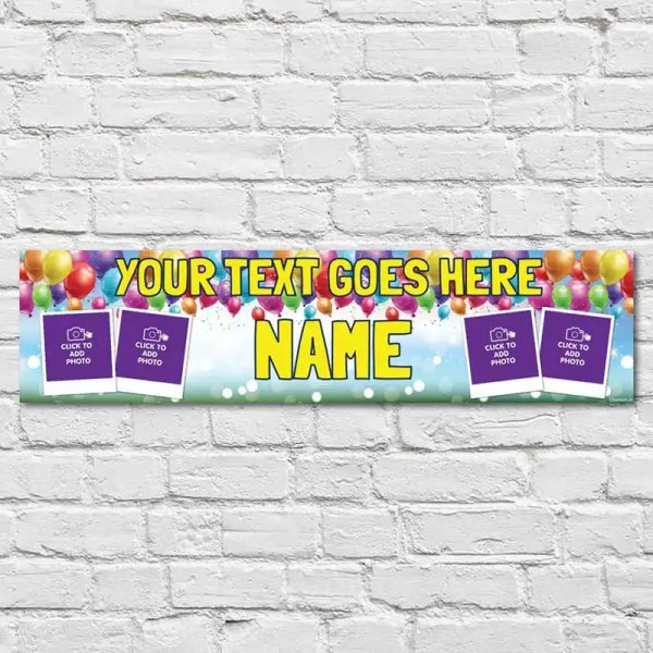 Personalised Birthday Banner with a sky background and balloons