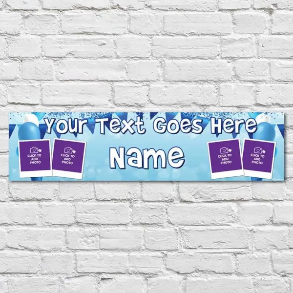 Personalised Birthday Banner with background bunting and balloons