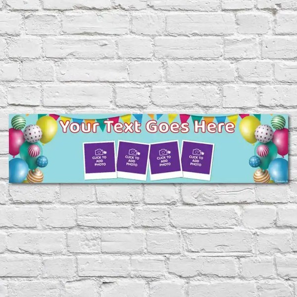 Personalised Birthday Banner with a blue background and colourful balloons