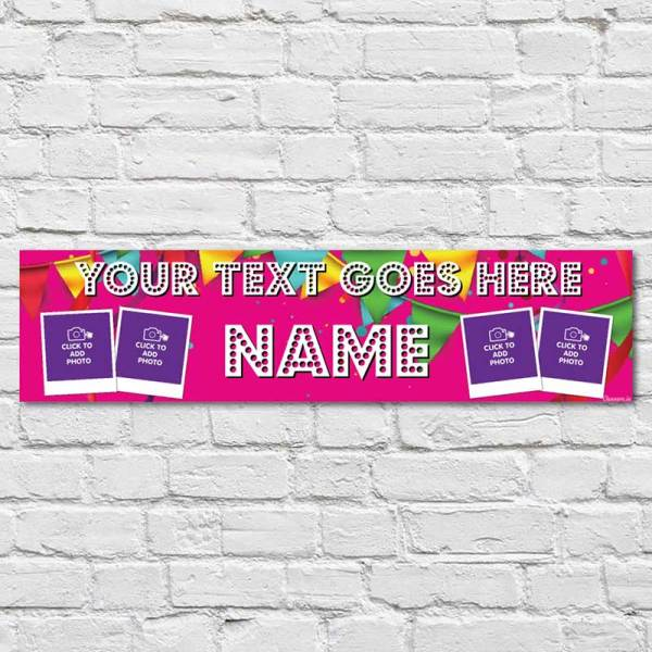 Hot Pink Personalised Birthday Banner with bunting background