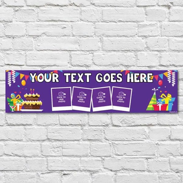 Personalised Birthday Banner with Purple Background Cake and Gifts