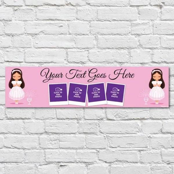 Personalised Communion and Confirmation Banner with Pink background and little girl