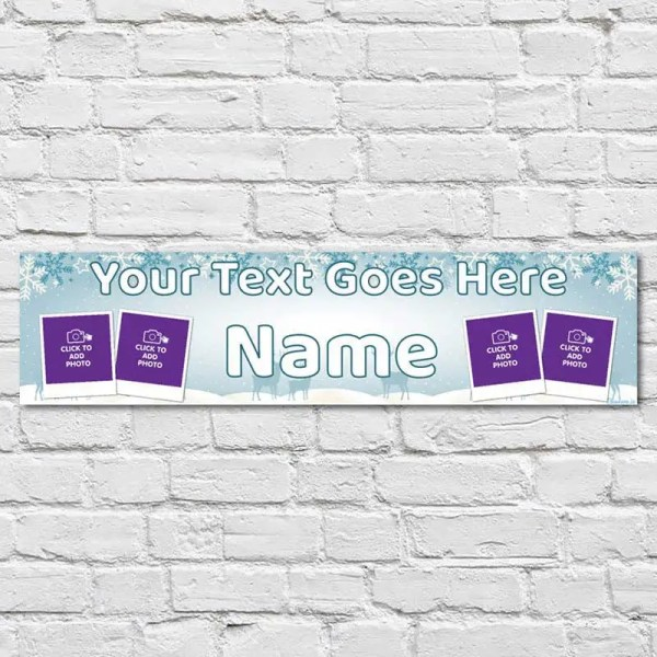 Personalised Christmas Banner with a light blue snowflake background