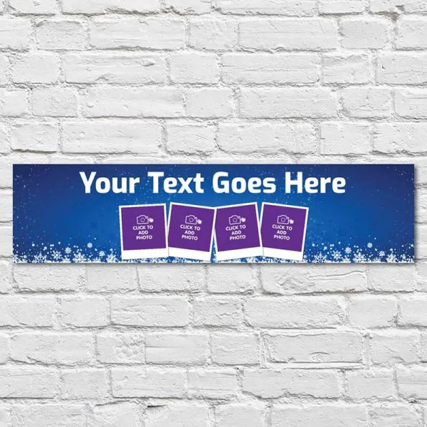 Personalised Christmas Banner with a blue background and snow