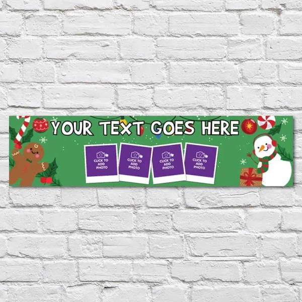 Personalised Christmas Banner with a Snowman and a Gingerbread man on a green background
