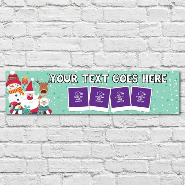 Personalised Christmas Banner with Santa and other Christmas Characters