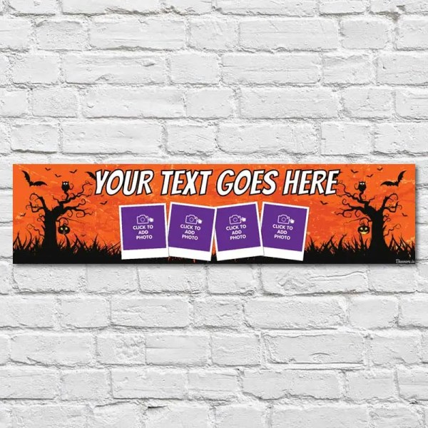 Personalised Halloween Banner with photos and an orange and black background with crooked trees