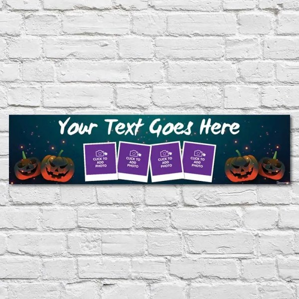 Personalised Halloween Banner with photos and a dark blue background with pumpkins