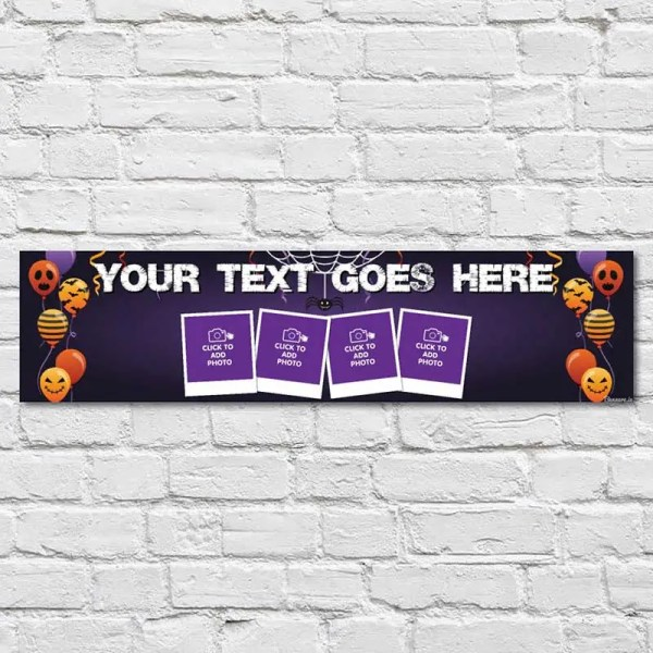 Personalised Halloween Banner with photos and a dark purple background with funny Halloween balloons