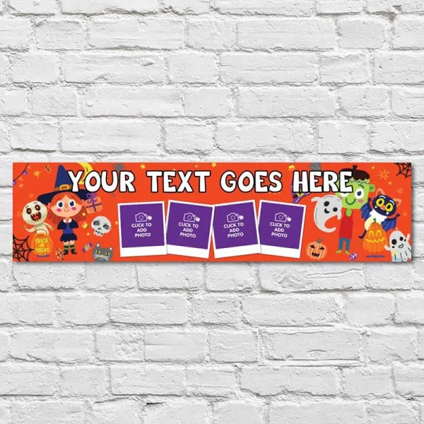 Personalised Halloween Banner with photos and an orange background with funny Halloween characters