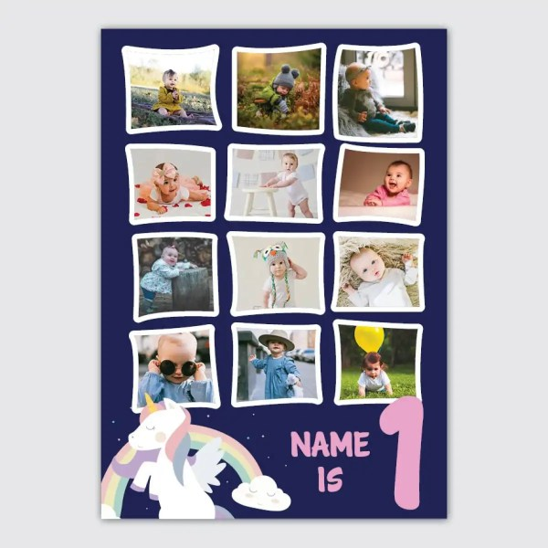 blue and pink personalised poster 1st birthday unicorn