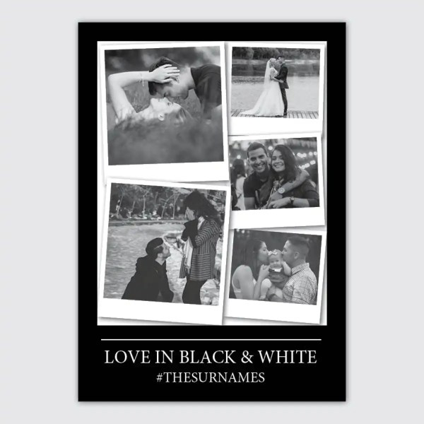 personalised photo collage poster in black and white