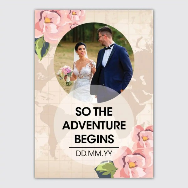 personalised wedding poster with world map and floral design