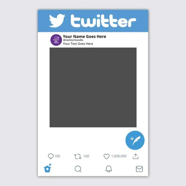 Personalised Twitter Selfie Frame Social Media Frame Photo Prop