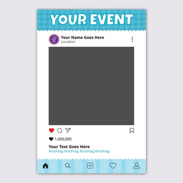 Personalised Selfie Frame Social Media Frame with Baby Blue Background for Christenings and Birthdays