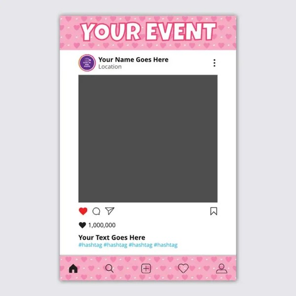 Personalised Selfie Frame Social Media Frame with Baby Pink Background for Christenings and Birthdays