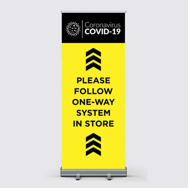 Covid-19 Coronavirus Social Distancing One Way System Pull Up Banner