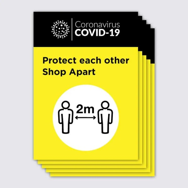 Coronavirus Covid-19 Social Distancing Yellow and Black Shop Apart Poster