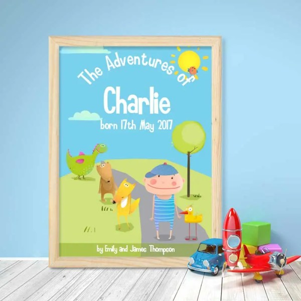 baby boy personalised poster with an illustration of a book cover and customisable text