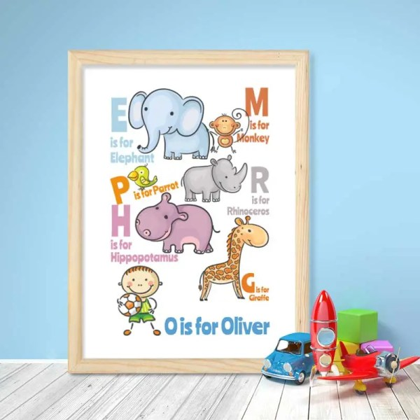 Personalised Baby Boy Poster with animal alphabet illustration and customisable text