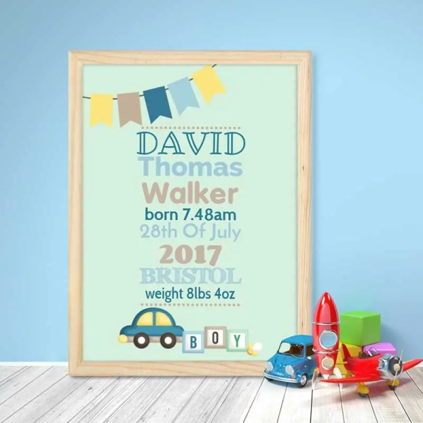 Personalised Baby Boy Poster with customisable text about their birth